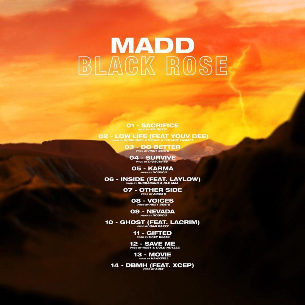 Le verso de la pochette de Black Rose de Madd, contenant la tracklist.